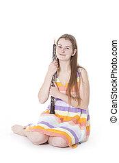 坐, 女孩, 雙簧管, 針對, 白色, 背景