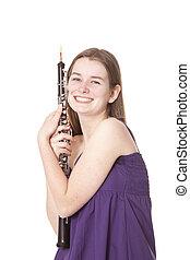 微笑, 女孩, 紫色, 衣服, 雙簧管