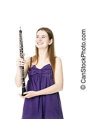 紫色, 微笑, 衣服, 女孩, 雙簧管