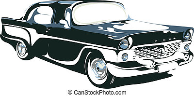 retro car in vector interpretation