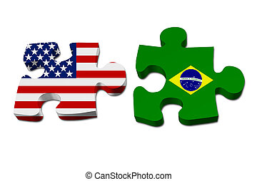 US working with Brazil, Puzzle pieces with the US flag and...