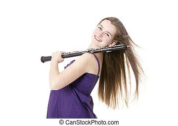 女孩, 白色, 背景, 針對, 雙簧管