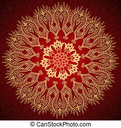 Burgundy pattern with gold lace ornament - Burgundy pattern...