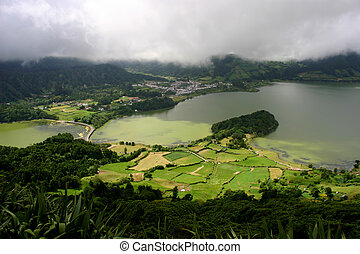 azores - seven lake city in azores island of s miguel