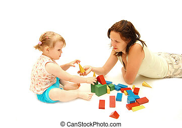 Mother with a daughter is played by cubes