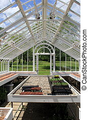 Inside the greenhouse - View from inside a beautiful glass...