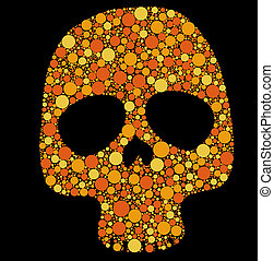 Skull with circles - Illustration of skull made with colored...