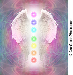 Angel Wings and Chakras - A pair of Angel wings with the...