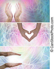 3 x healing hands website banners - 3 different healing...