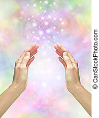 Magical Healing Energy - Hands outstretched with rainbow...