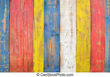 Painted woods boards - colored woods boards in blue, red and...