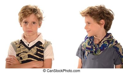 Two twin boys on white background
