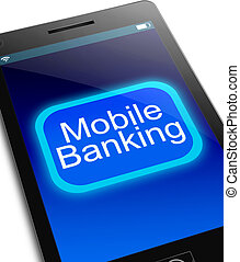 Mobile banking concept. - Illustration depicting a phone...