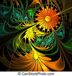 Flower background Orange and green palette Fractal design...