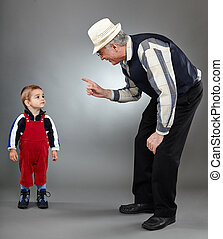 Making discipline - Grandfather trying to discipline his...