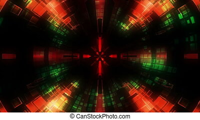 Science Fiction Tunnel Looping Animated Background in red...