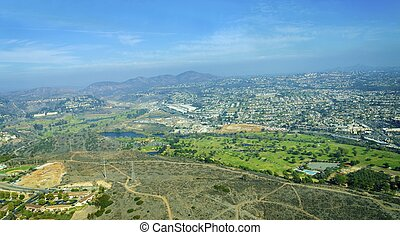 Aerial view of Mission Valley, San Diego - Aerial view of...