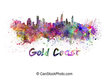 Gold Coast skyline in watercolor splatters with clipping...