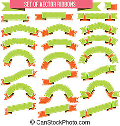 Big Ribbons Set, Isolated On White Background, Vector...