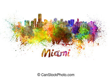 Miami skyline in watercolor splatters with clipping path