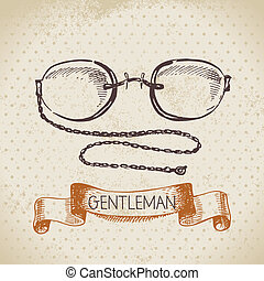 Sketch gentlemen accessory Hand drawn men illustration