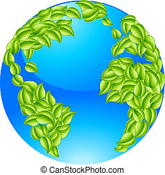 Green Leaves Globe Earth World Conc