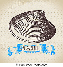 Seashell hand drawn sketch Vintage illustration