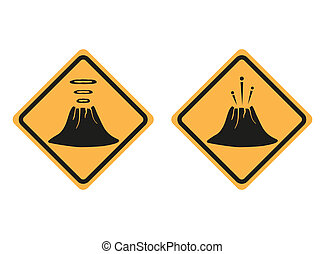 Warning road signs about the dangers of volcano - Warning...