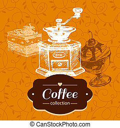 Vintage coffee background. Hand drawn sketch illustration....