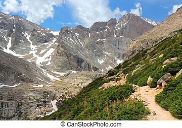 Rocky Mountain National Park in Colorado, USA Tourist trail...