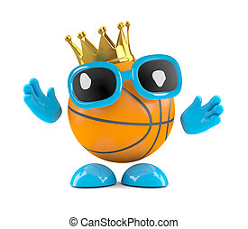 3d king basketball - 3d render of a basketball character...
