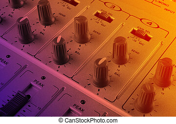 Music mixer at stage - closeup view