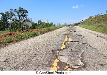 Bad road in USA - Damaged road of Yokohl Drive in...