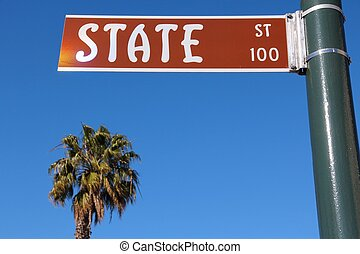 Santa Barbara, California, USA - famous State Street and a...