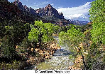 Zion Canyon - The Beautiful Virgin River Flowing Through...