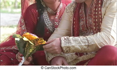 Indian bride groom smile - Indian bride and groom stroking...