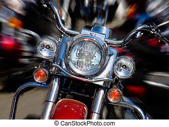 Motorcycle - bike rushing at city street - motion blur