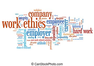 Corporate ethics - Work ethics issues and concepts word...