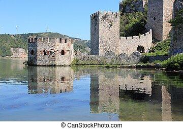 Serbia landmark - Golubac Fortress on Danube River in...