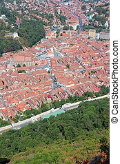 Brasov, town in Transylvania, Romania Aerial view of famous...