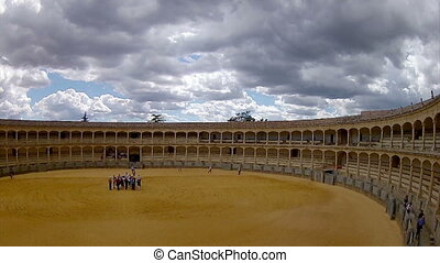Pan Timelapse - Ronda - Spain - The Plaza de toros de Ronda,...