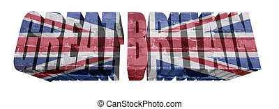 Great Britain Word - National Flag of Great Britain on the...