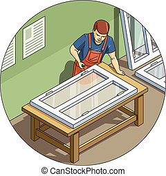 Worker make window Eps10 vector illustration Isolated on...