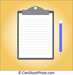 Paper note pad - Paper note with clipboard and pencil, Paper...
