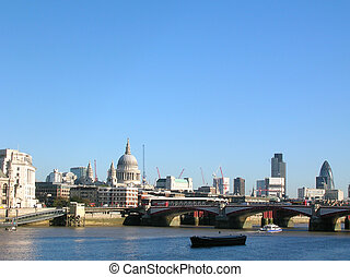 London - Central London view along the River Thames...