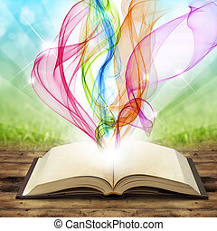 magic book - open book with colored smoke swirls and twirls
