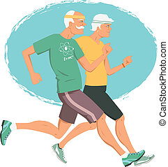 Active retirement - Elderly couple jogging