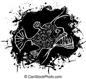 Something fishy - Angler fish vector design on a black...