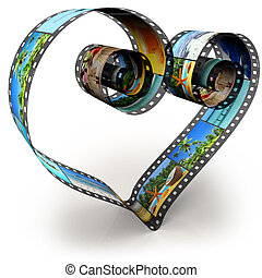 Photos of the summer holidays - filmstrip in shape of heart...