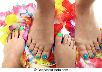 womens legs with nice nails (pedicure) - womens legs with...